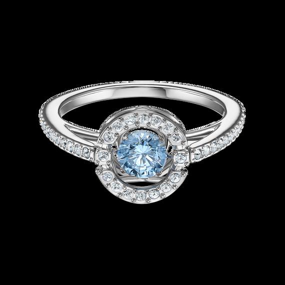 خاتم دائري من مجموعة سواروفسكي Sparkling Dance، ذو اللون الأزرق المائي، مطلي بالروديوم