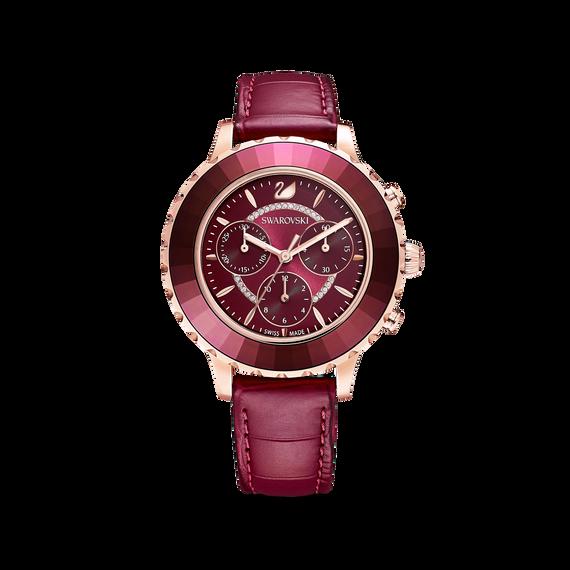 ساعة Octea Lux Chrono، حزام جلد، لون أحمر، طلاء PVD ذهبي وردي