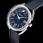 ساعة Crystalline Glam، بحزام جلد، زرقاء اللون، مصنوعة من الإستانليس ستيل