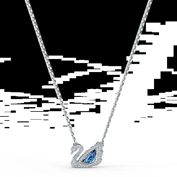 سلسلة Dancing Swan زرقاء اللون، مطلية بالروديوم