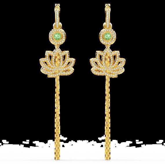 أقراط تحمل زهرة اللوتس من مجموعة سواروفسكيSymbolic للأذن المثقوبة، خضراء اللون، مطلية باللون الذهبي