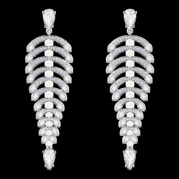 أقراط الأذن المثقوبة Bestiary Polar على شكل الثريا ، أبيض ، مطلي بالروديوم