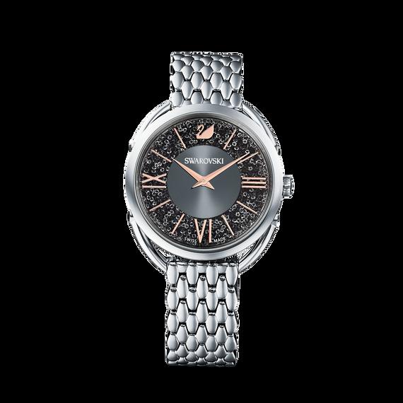 ساعة Crystalline Glam، بسوار معدني، رمادية، بلون فضي