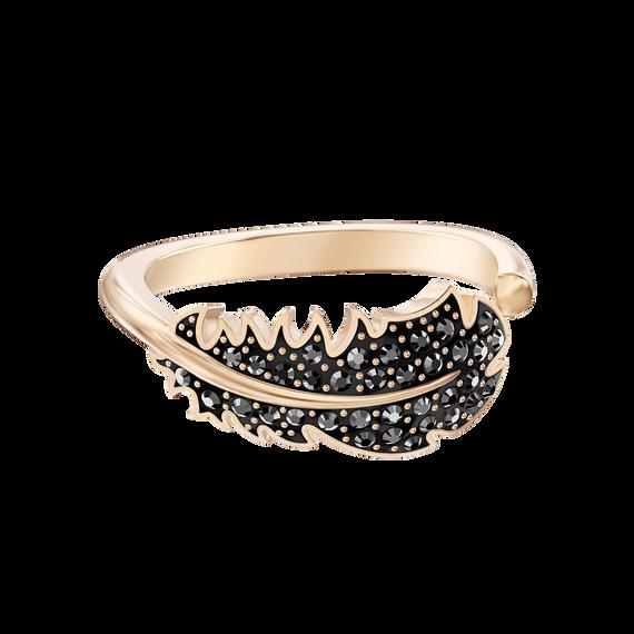 خاتم Naugty Motif ، أسود ، مطلي باللون الذهبي الوردي