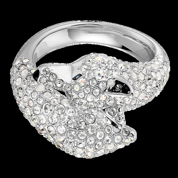 خاتم POLAR BESTIARY على شكل الذئب ، متعدد الألوان ، مطلي بالروديوم