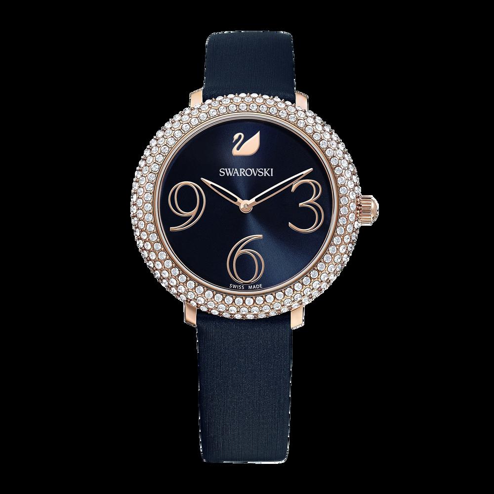 ساعة Crystal Frost ، حزام جلدي ، أزرق ، بلون ذهبي وردي PVD
