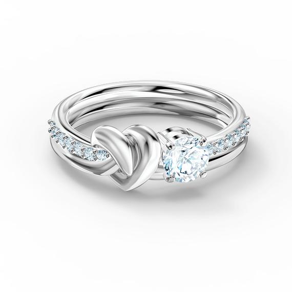 خاتم  Lifelong Heart، أبيض اللون، مطلي بالروديوم