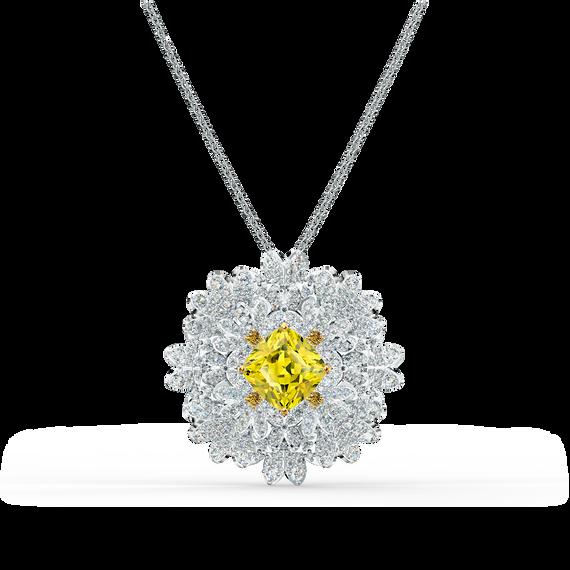 بروش Eternal Flower، أصفر اللون مع طبقة خارجية معدنية مختلطة
