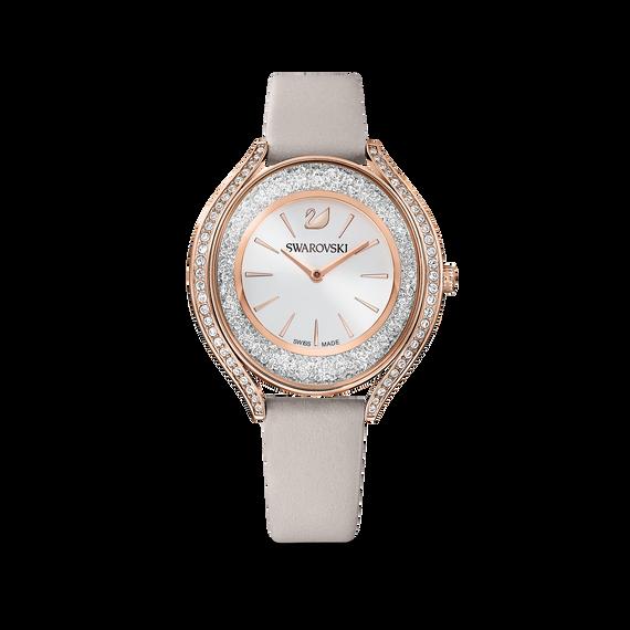 ساعة Crystalline Aura، بحزام جلد رمادي، باللون الذهبي الوردي، ومطلي بمادة بي في دي (الترسيب الفيزيائي للبخار)