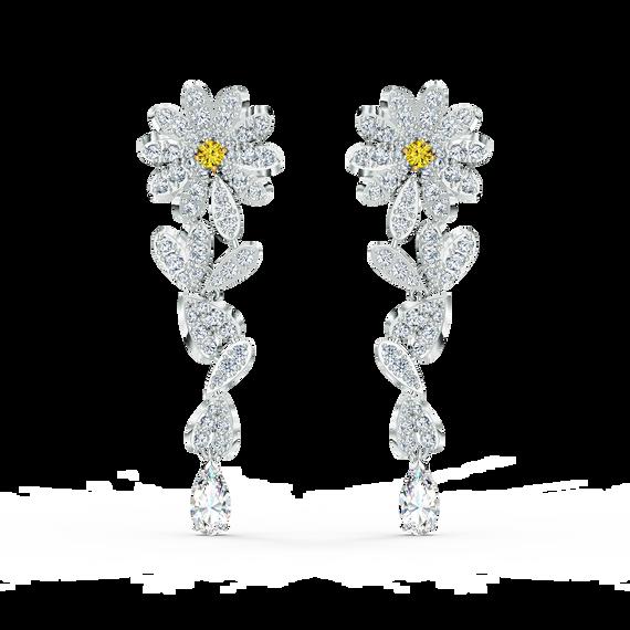 أقراط للأذن المثقوبة Eternal Flower صفراء اللون مع طبقة خارجية معدنية مختلطة