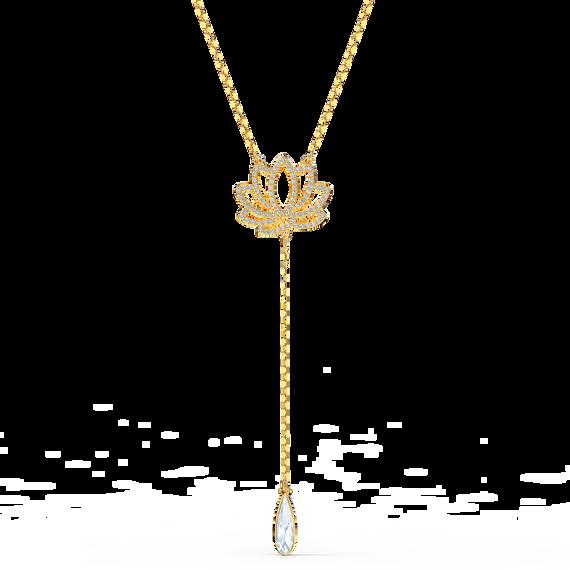 سلسلة تحمل زهرة اللوتس من مجموعة سواروفسكيSymbolic، بيضاء اللون، مطلية باللون الذهبي