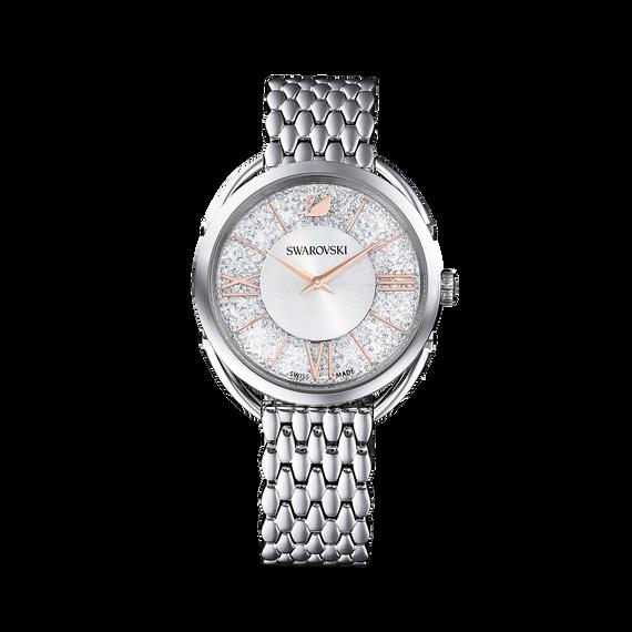 ساعة Crystalline Glam، بسوار معدني، بيضاء، بلون فضي
