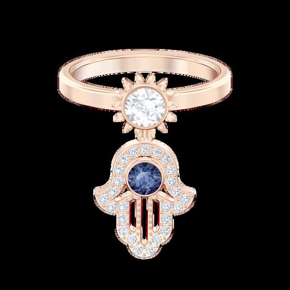 خاتم Symbolic  من سواروفسكي ، أزرق ، مطلي باللون الذهبي الوردي