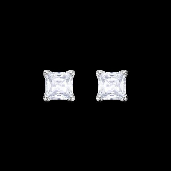 أقراط أذن مثقوبة Attract على شكل أزرار، بيضاء، طلاء روديوم