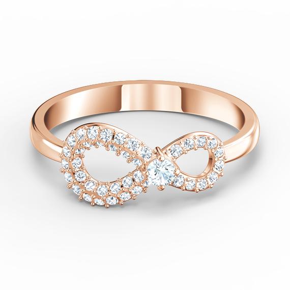 خاتم Swarovski Inifinity، أبيض اللون، مطلي باللون الذهبي الوردي