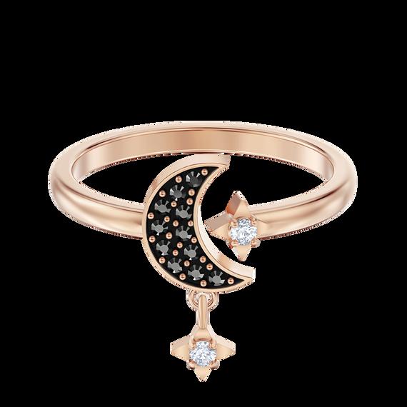 خاتم Symbolic من سواروفسكي على شكل قمر، أسود ، مطلي باللون الذهبي الوردي