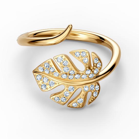 خاتم مفتوح على شكل ورقة شجر Tropical، أبيض اللون، مطلي باللون الذهبي