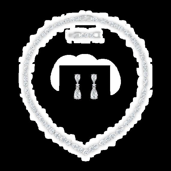 طقم Tennis Deluxe على شكل حرف V، لون أبيض، طلاء روديوم