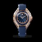 ساعة Crystalline Aura، حزام جلد، لون أزرق، طلاء PVD ذهبي وردي