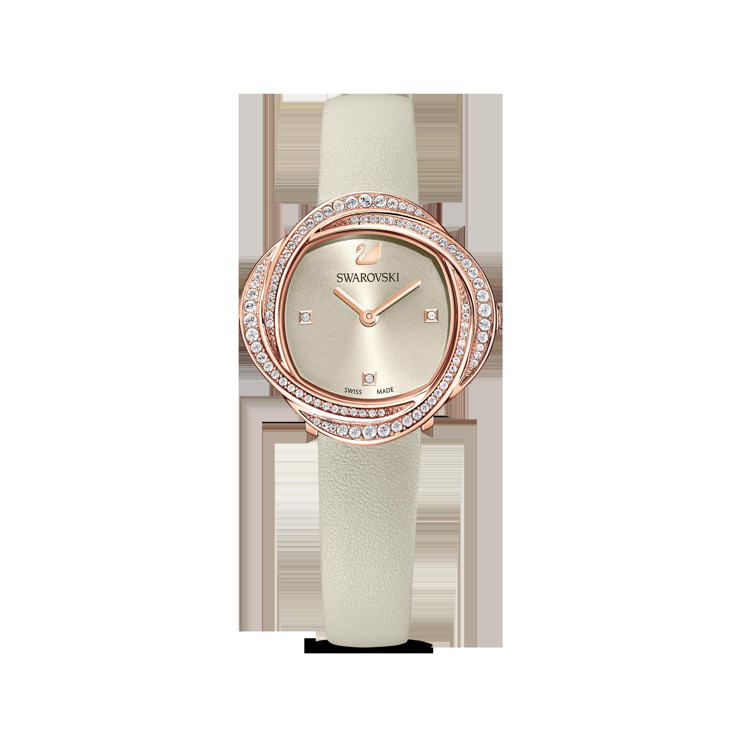 ساعة Crystal Flower، سوار جلد، لون رمادي، طلاء ذهبي وردي بتقنية PVD