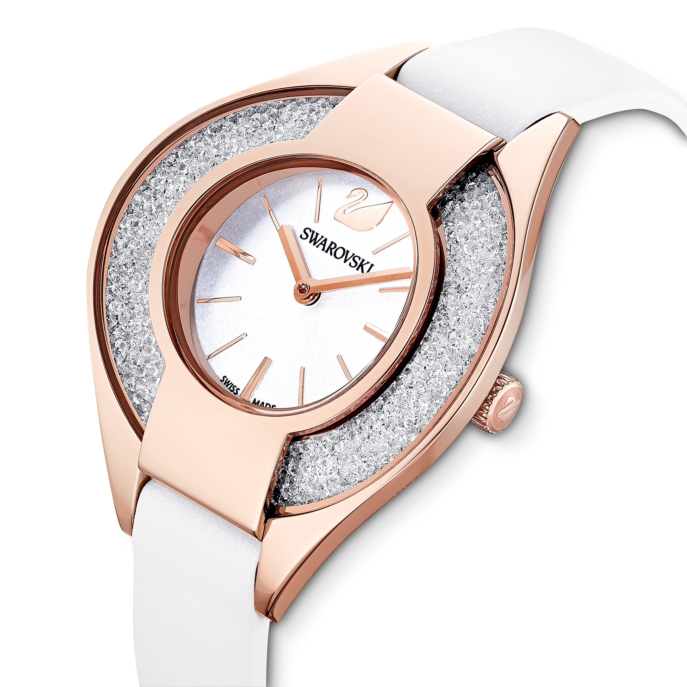 ساعة Crystalline Sporty، سوار جلد، لون أبيض، طلاء ذهبي وردي بتقنية PVD