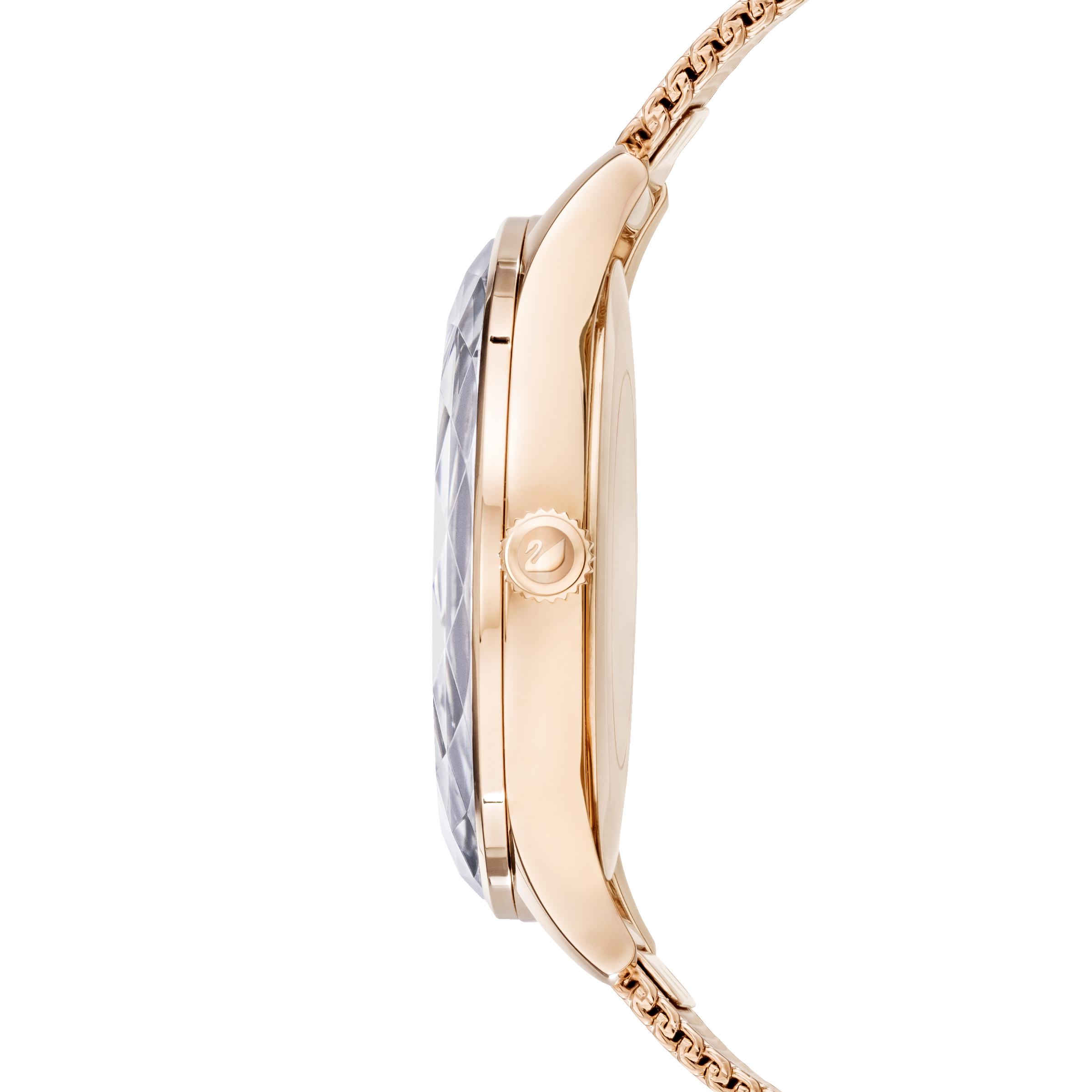 ساعة Octea Nova، سوار معدني شبكي، رمادية، درجة لون الذهب الوردي