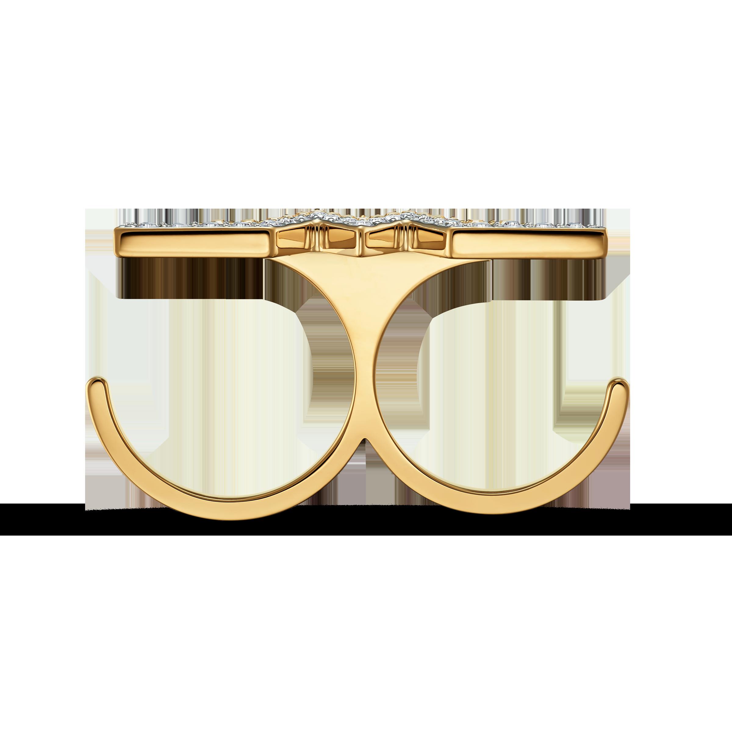 خاتم مزدوج Fit Wonder Woman، باللون الذهبي، مع طبقة خارجية معدنية مختلطة