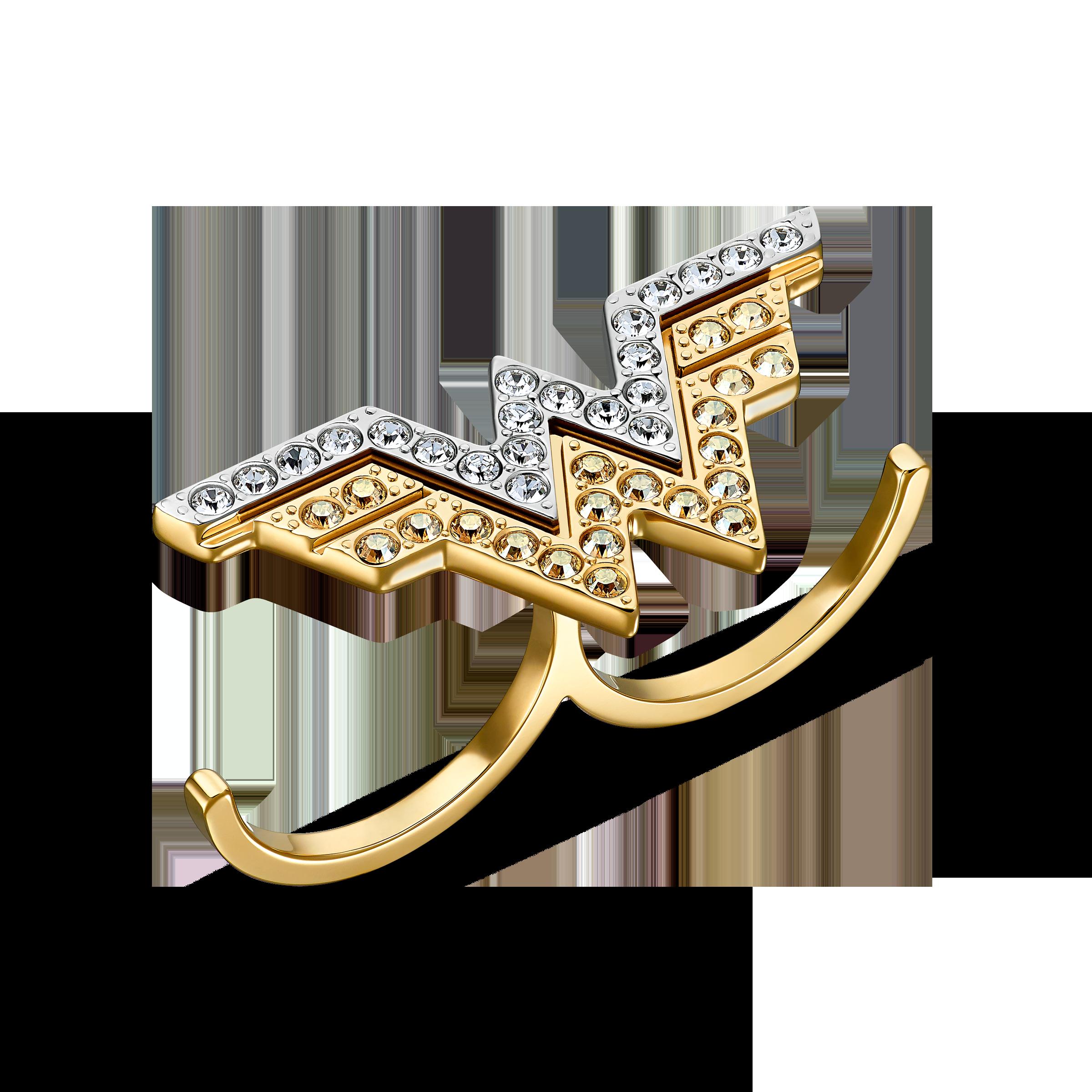خاتم Fit Wonder Woman مزدوج، لون الذهبي، لمسة نهائية من معادن مختلطة